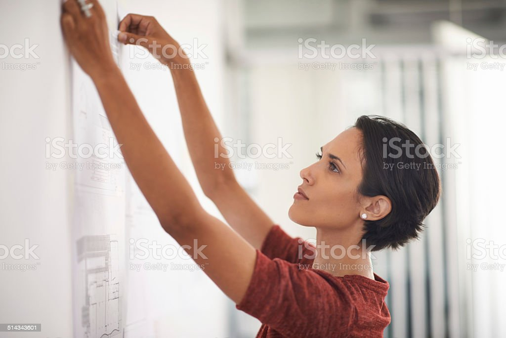 These plans are coming along nicely! stock photo