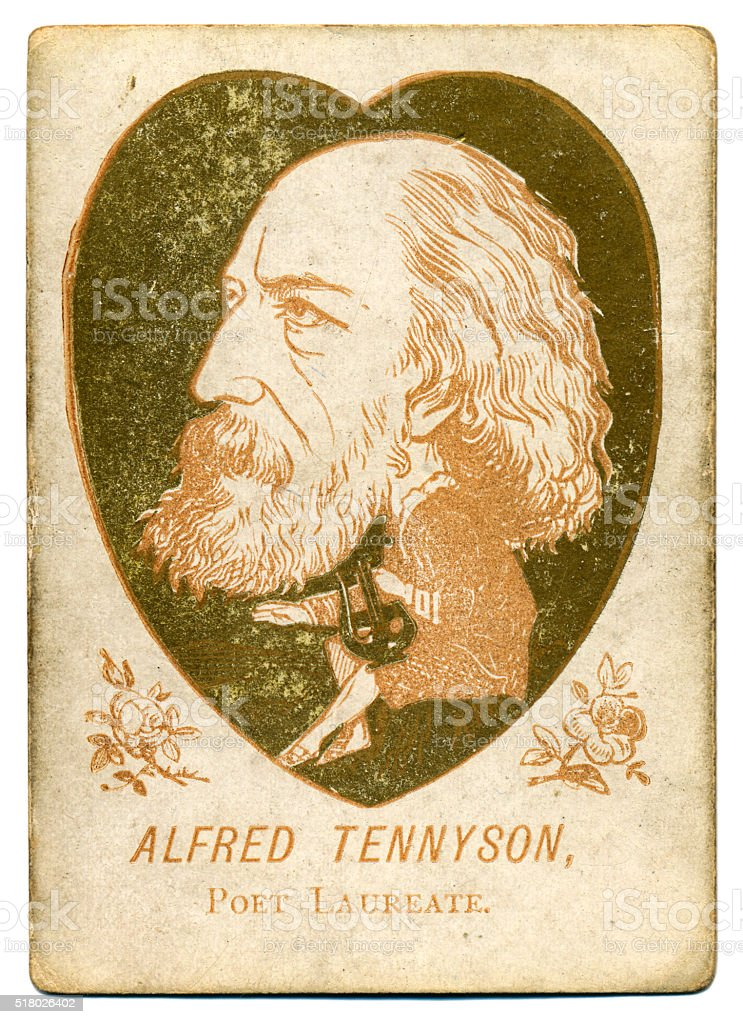Victorian caricature poet Alfred Tennyson playing card 1880s stock photo