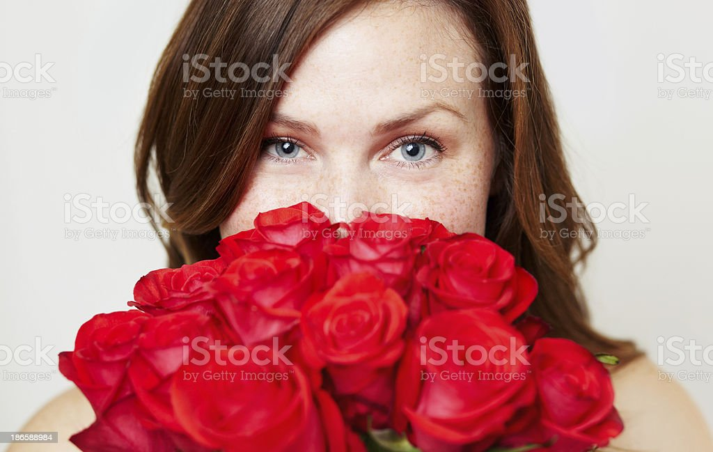 These roses smell good stock photo