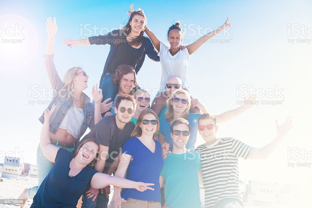 These students are having a great time in St.Peter-Ording, Germany! stock photo