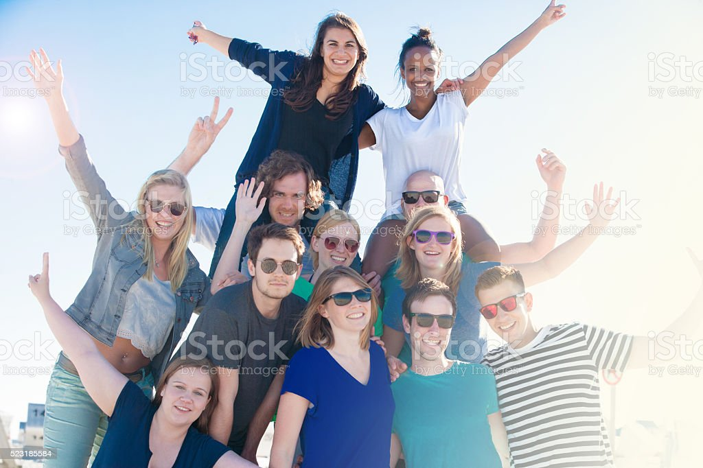 These students are having a great time! stock photo