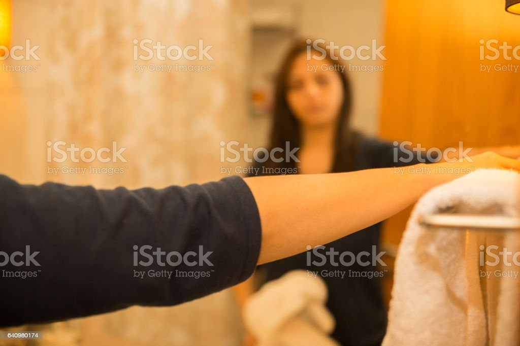 These towels looks nice in the bathroom stock photo