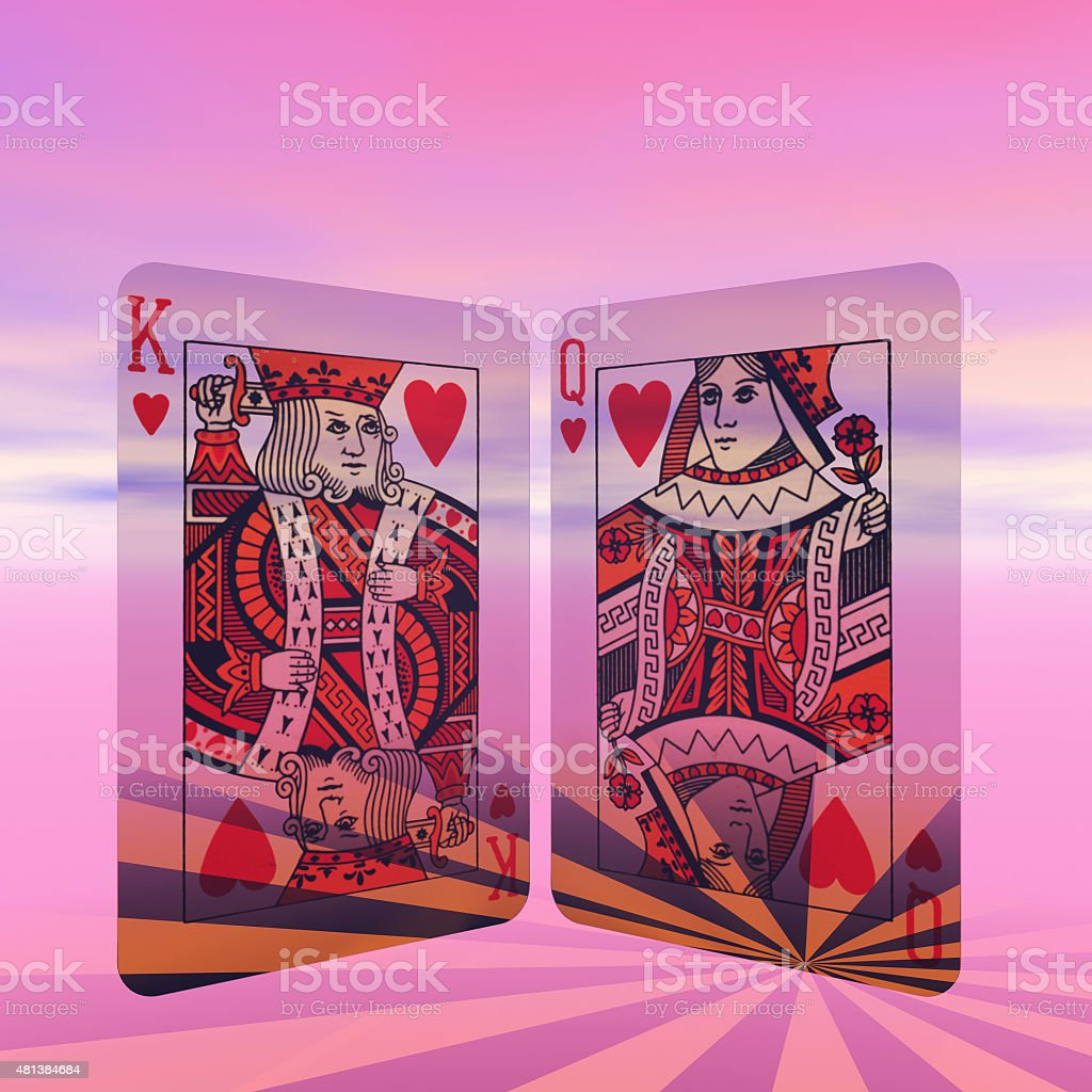 Love and marriage King and Queen of Hearts stock photo