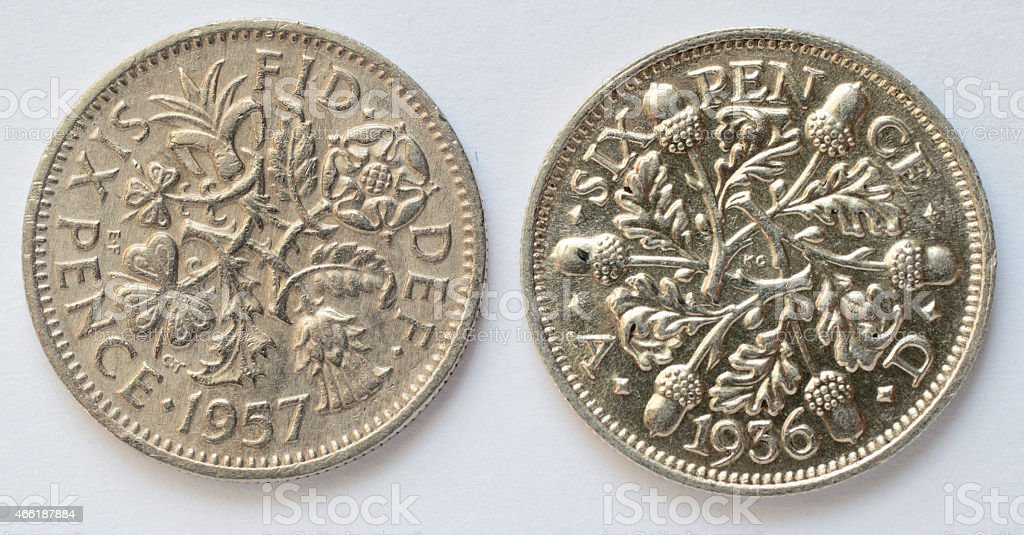 Two sixpences Queen Elizabeth and King George V reverse stock photo