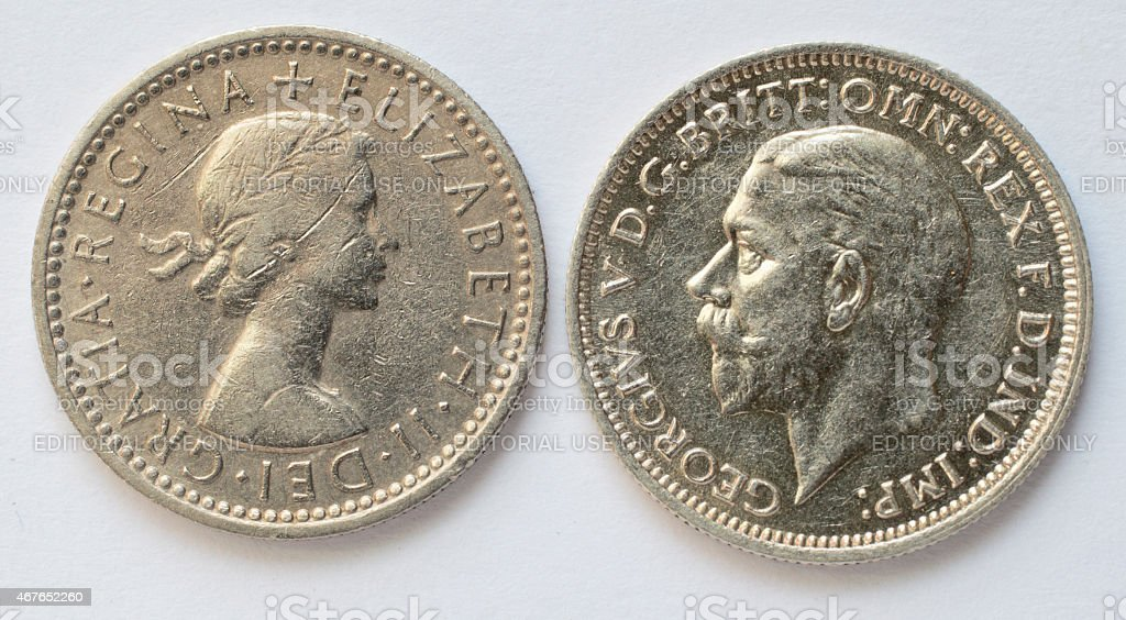 Two sixpences Queen Elizabeth and King George V obverse stock photo