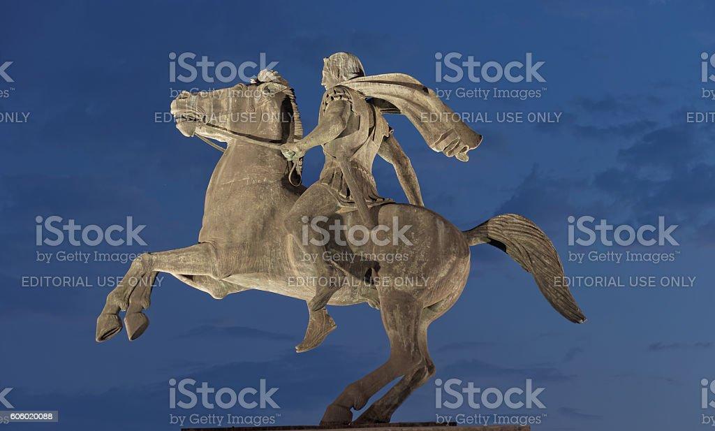 Thessaloniki, Greece. Alexander The Great on horse statue at night. stock photo