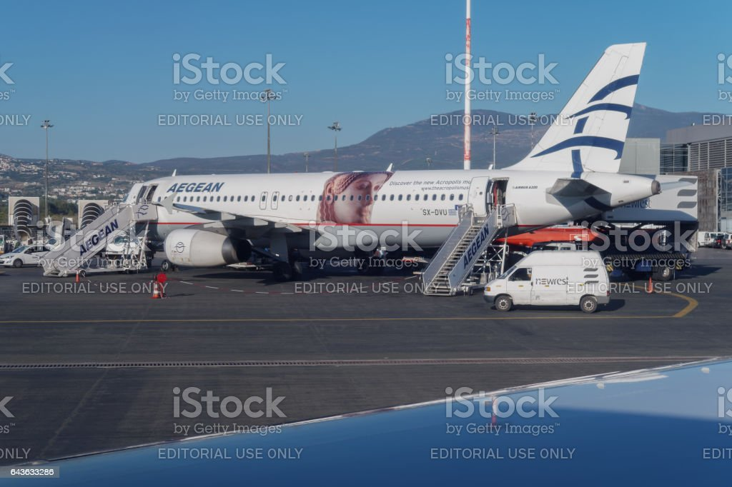 Thessaloniki, Greece - September 23 2016: Aegean airlines aircraft at airport. stock photo