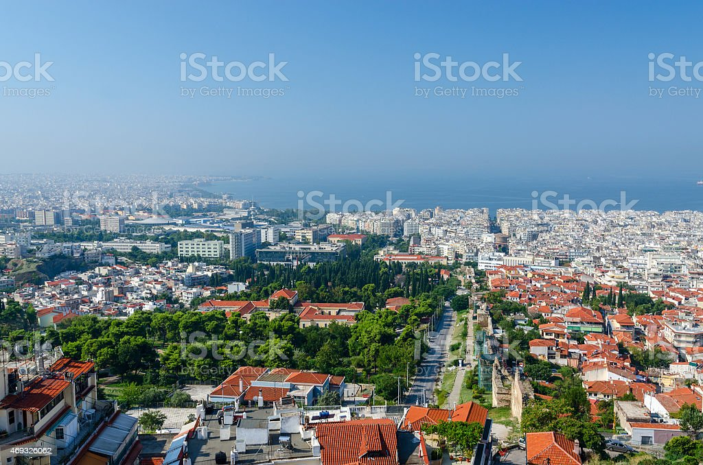 Thessaloniki, morning view of city and bay from fortress walls stock photo