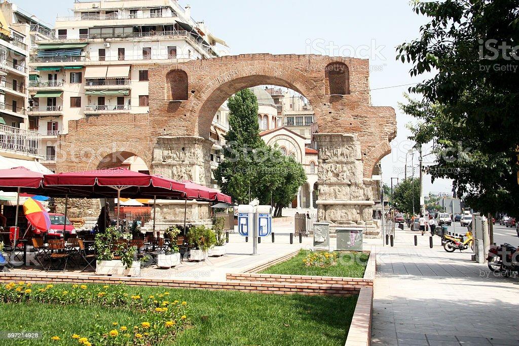 Thessaloniki, the Arch of Roman emperor Galleries stock photo