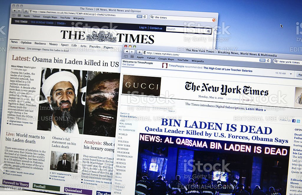 thetimes.co.uk and newyorktimes.com announce the death of  Bin Laden stock photo