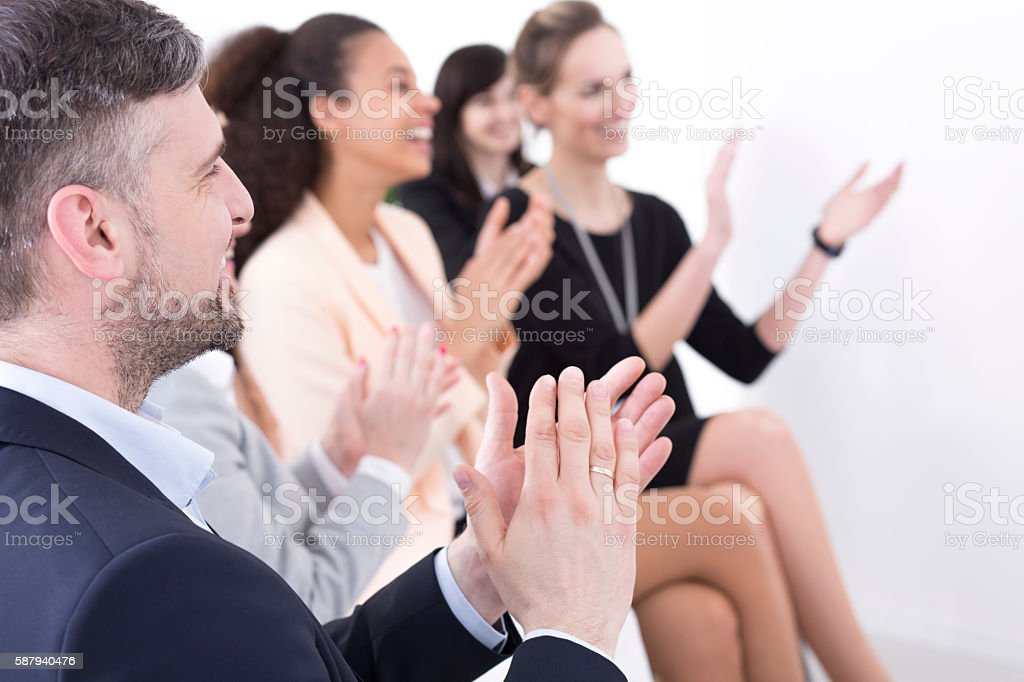 They all deserve the title of the employee of the month stock photo