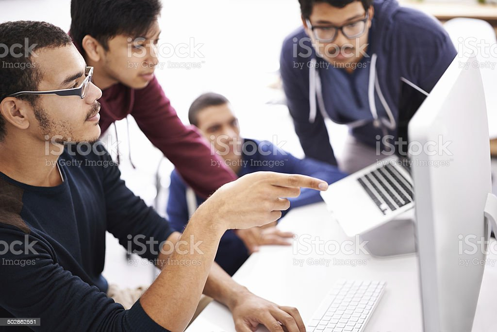They all give great input for the project stock photo