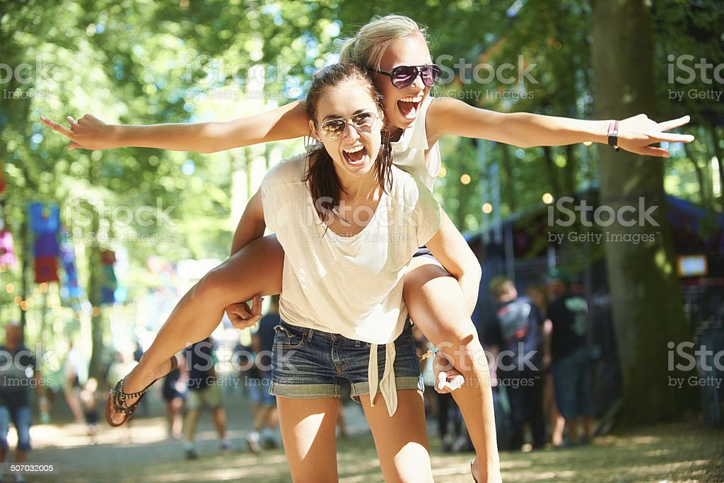 They always have a blast together! stock photo