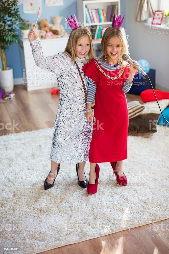 They dream to be a real music star stock photo
