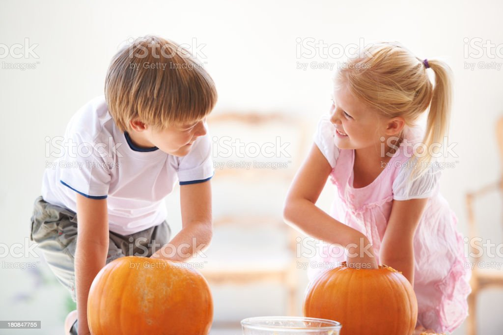 They each get they're own pumpkin every year royalty-free stock photo
