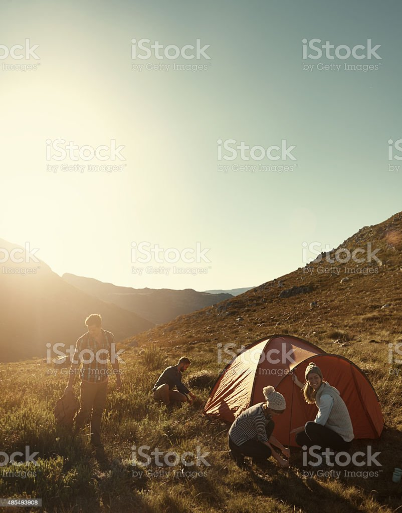They found the perfect campsite stock photo