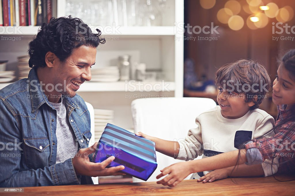 They got him the perfect Father's Day gift... stock photo
