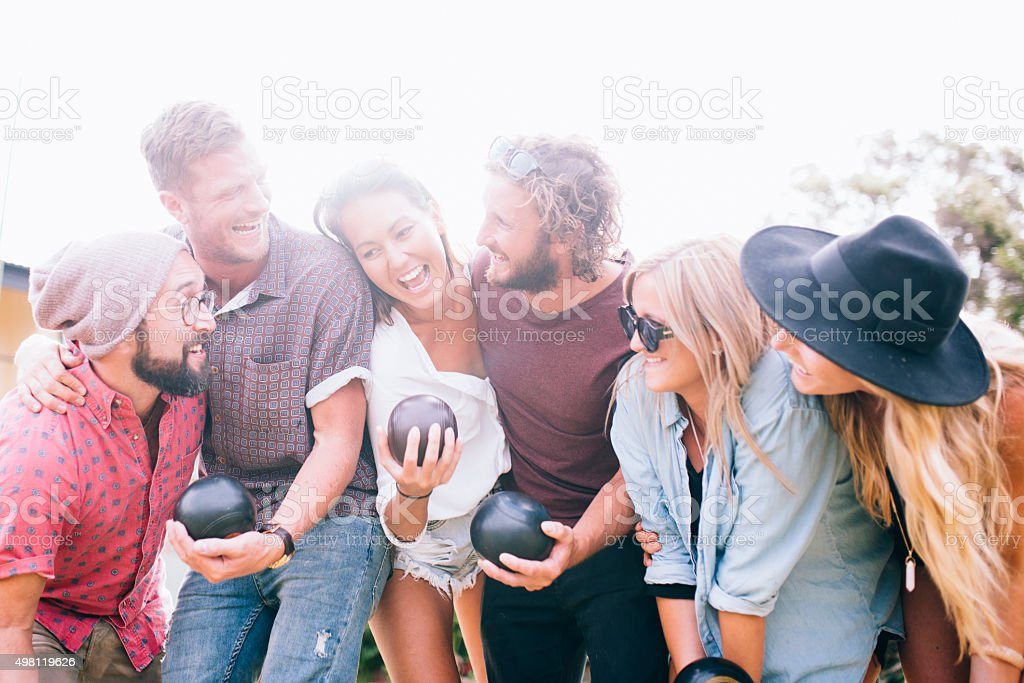 They have so much fun with this game stock photo