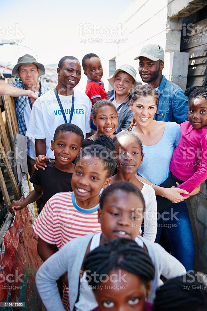 They look forward to these community outreach events stock photo