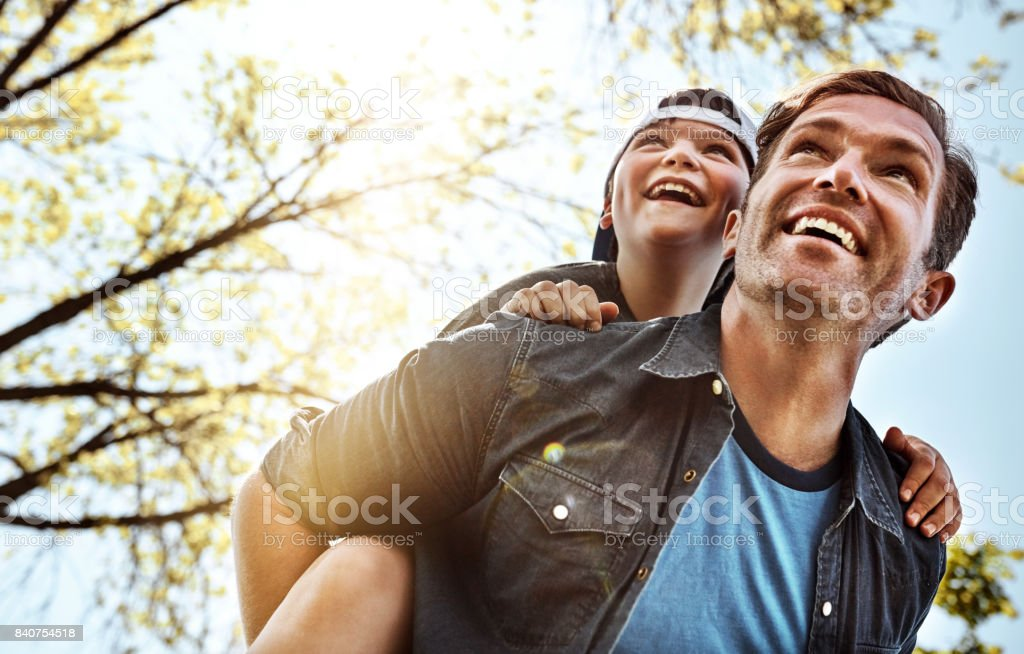 They love exploring the outdoors together stock photo