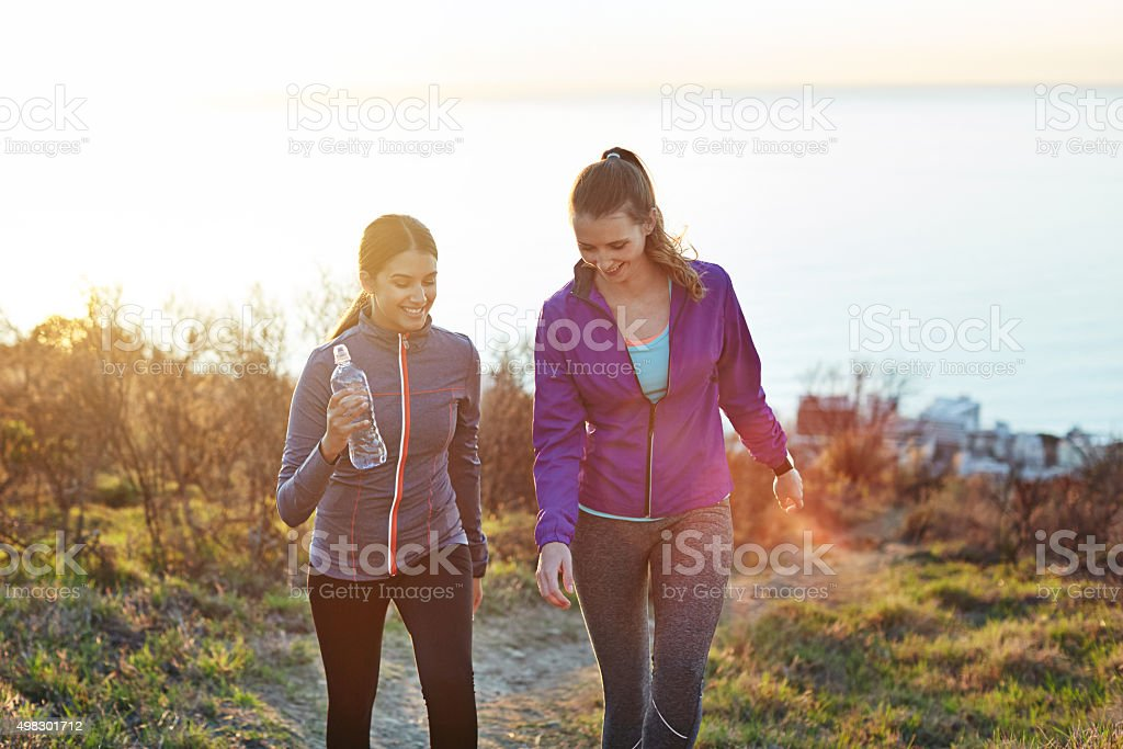 They love getting outdoors! stock photo