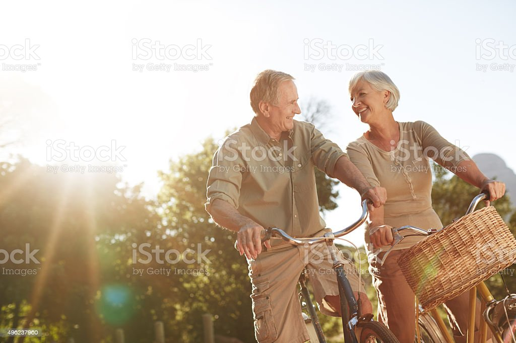 They love taking bike rides together stock photo