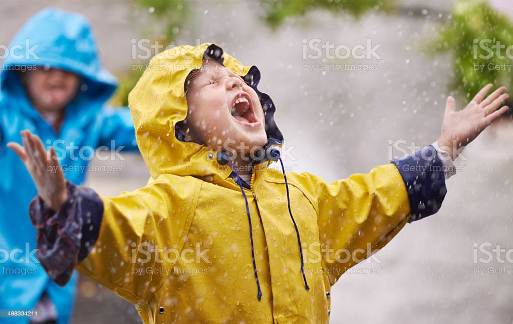They love the rain stock photo