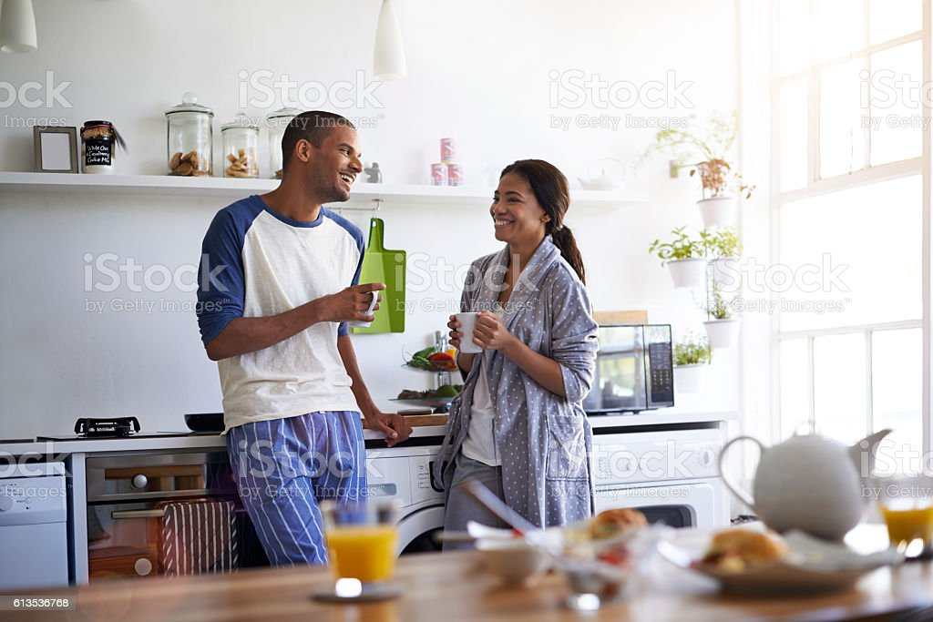 They love their mornings together stock photo