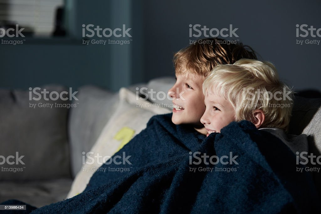 They love watching movies together stock photo