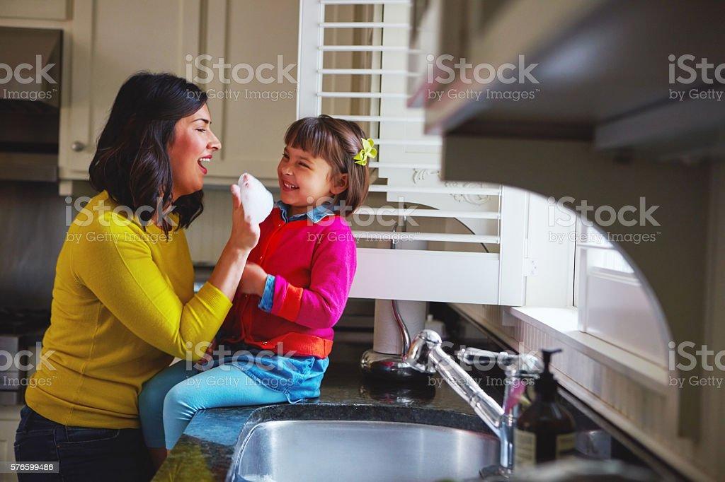They make housework look like fun stock photo
