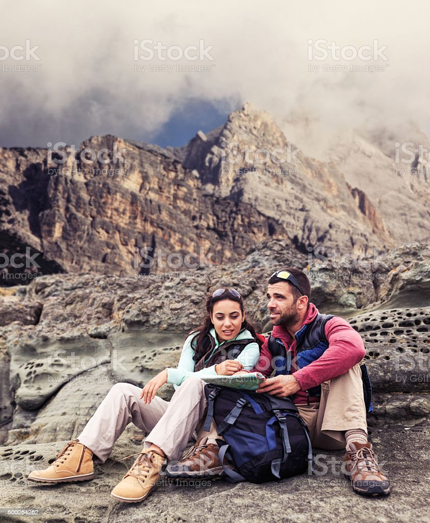 They seem to have lost their way in the mountain stock photo