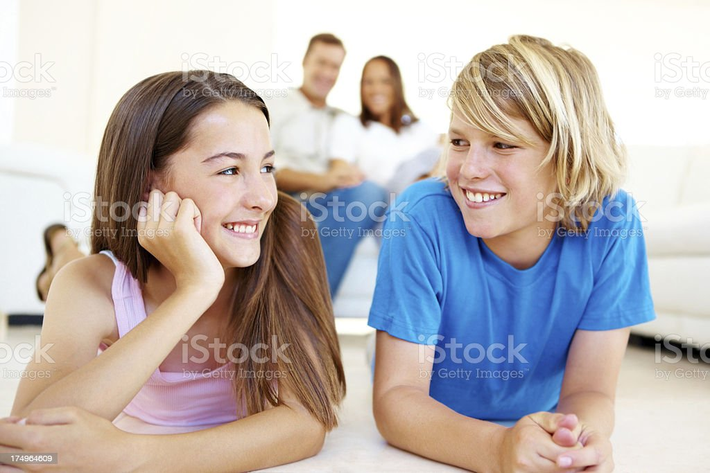 They share a goodnatured sibling rivalry royalty-free stock photo