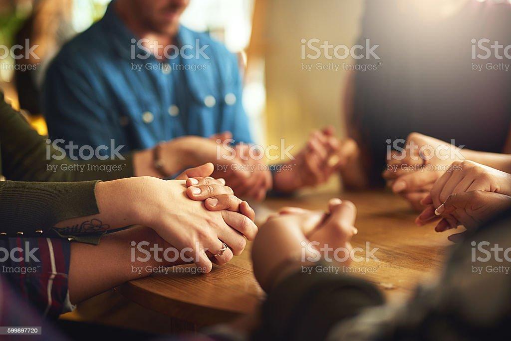 They share a strong faith stock photo