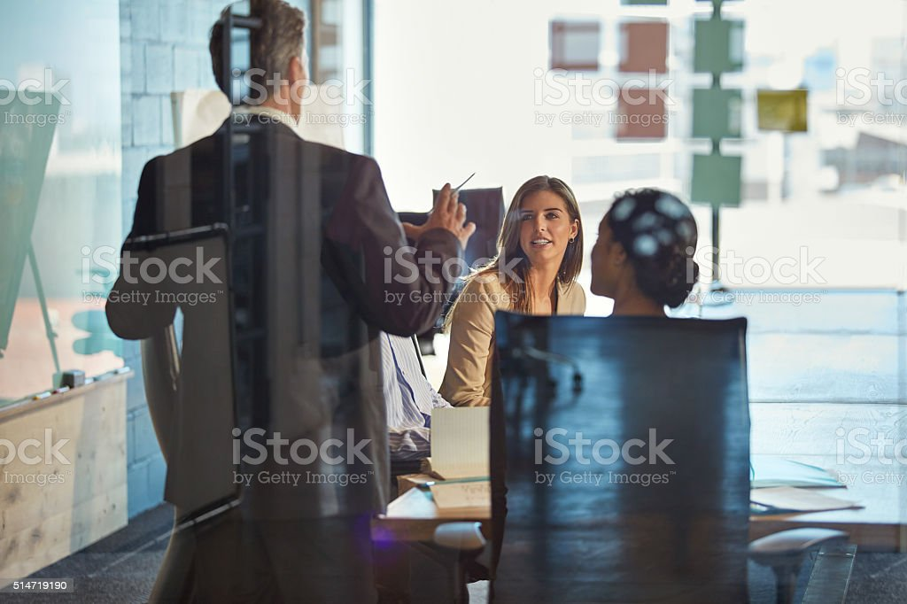 They share highlights of the work week in their meetings stock photo