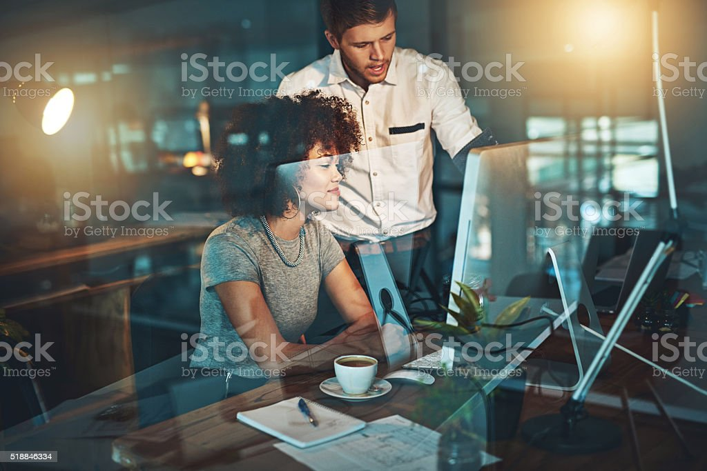 They work around the clock to satisfy their clients stock photo