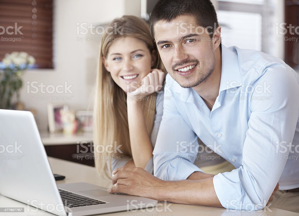 They're a happy couple of entrepreneurs royalty-free stock photo