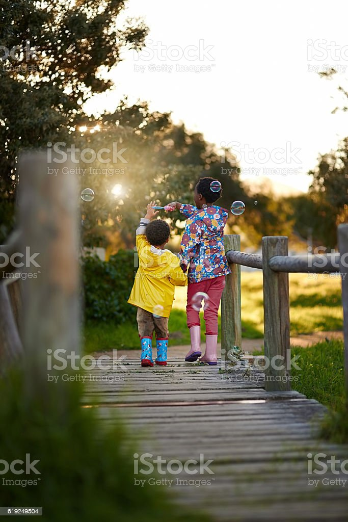 They're adventurous siblings stock photo