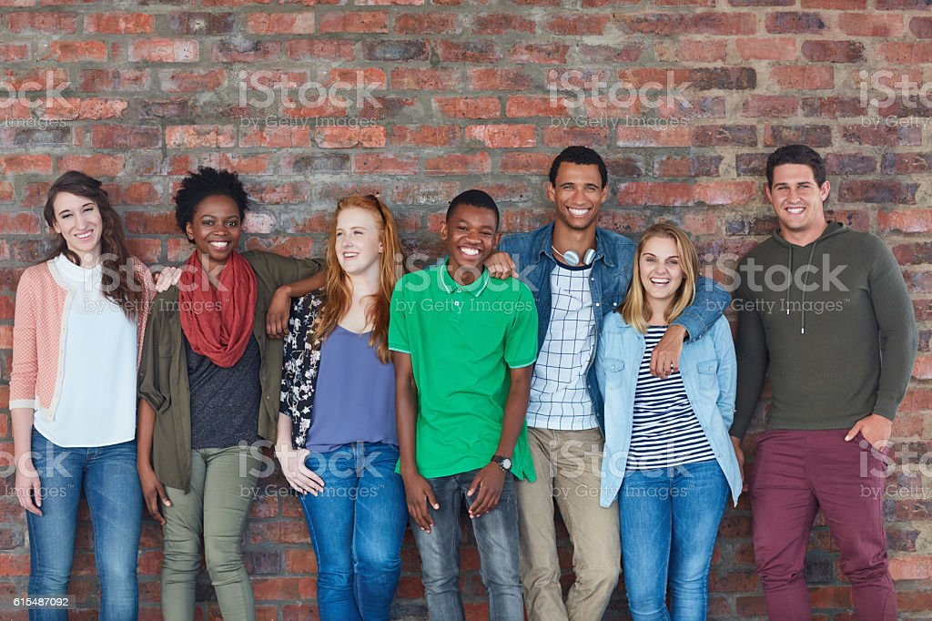 They're all smiles on campus stock photo