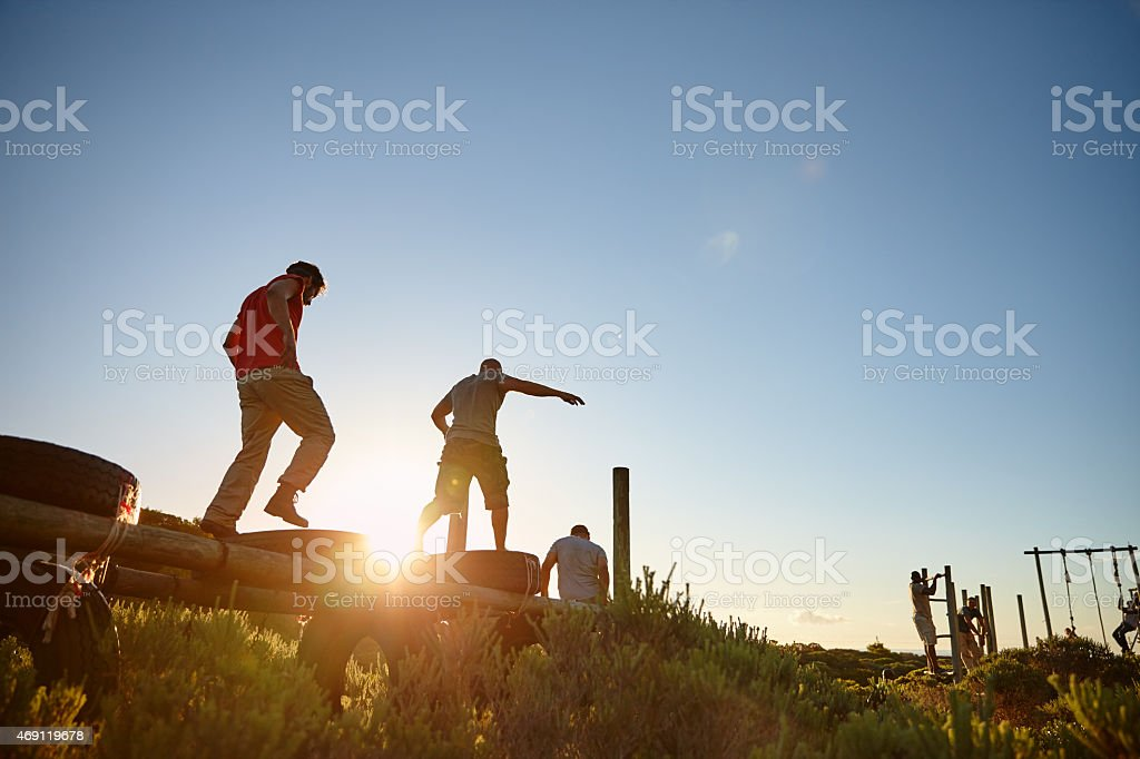 They're getting fighting fit stock photo