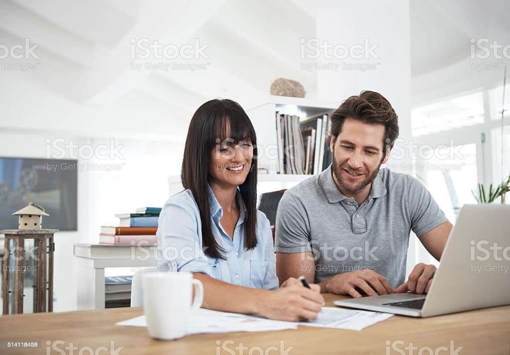 They're jointly responsible for the monthly budget stock photo