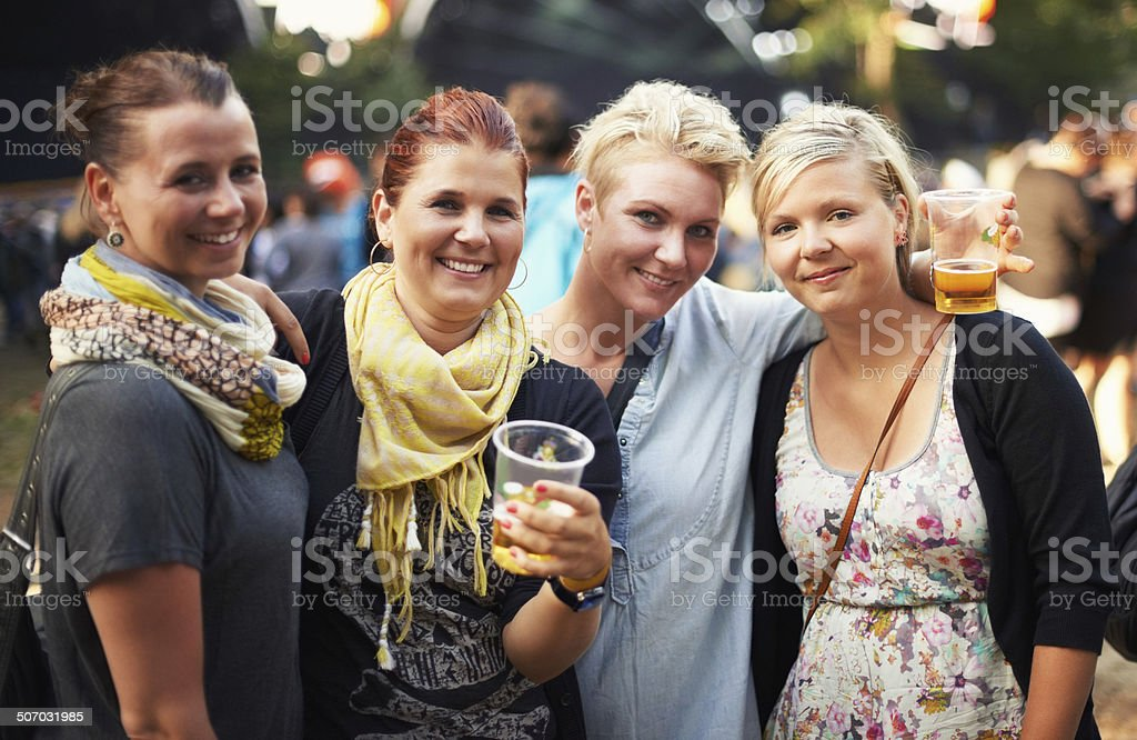 They're loving the festival vibe stock photo