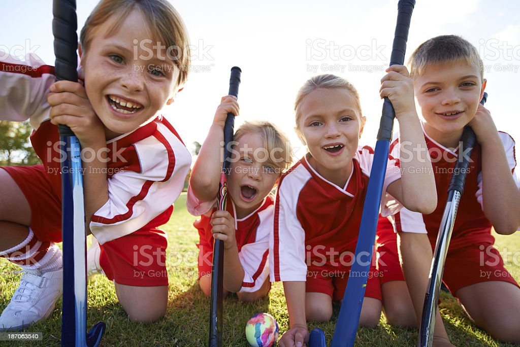 They've got strong team spirit! stock photo