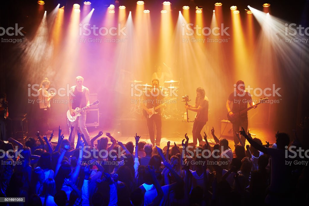 They've got the crowd in a musical trance stock photo