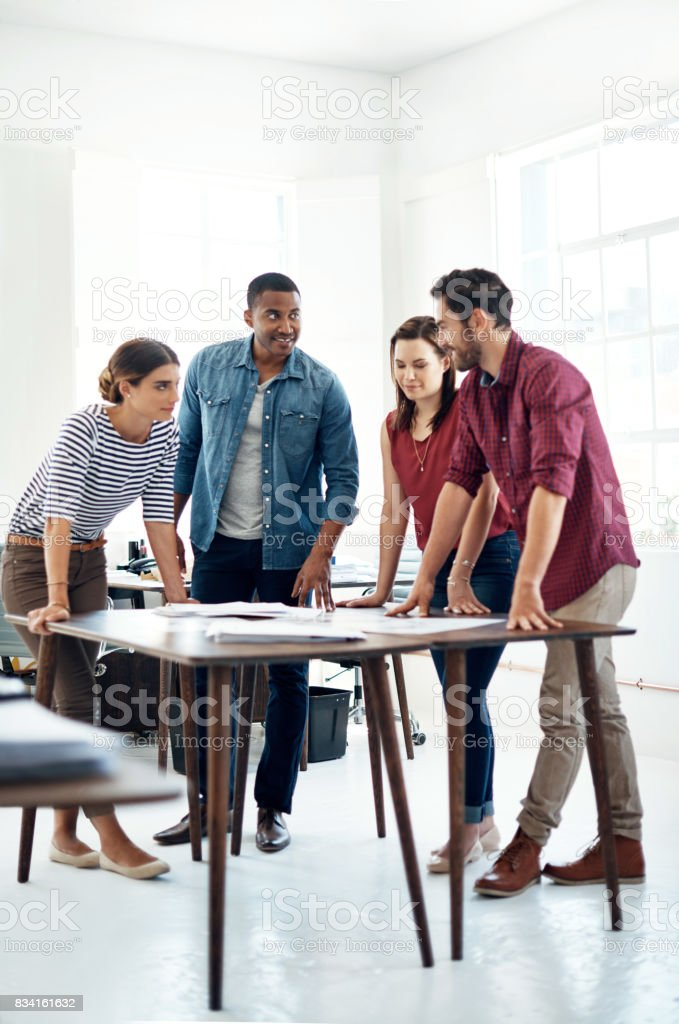 They've got the most creative minds working on this project stock photo