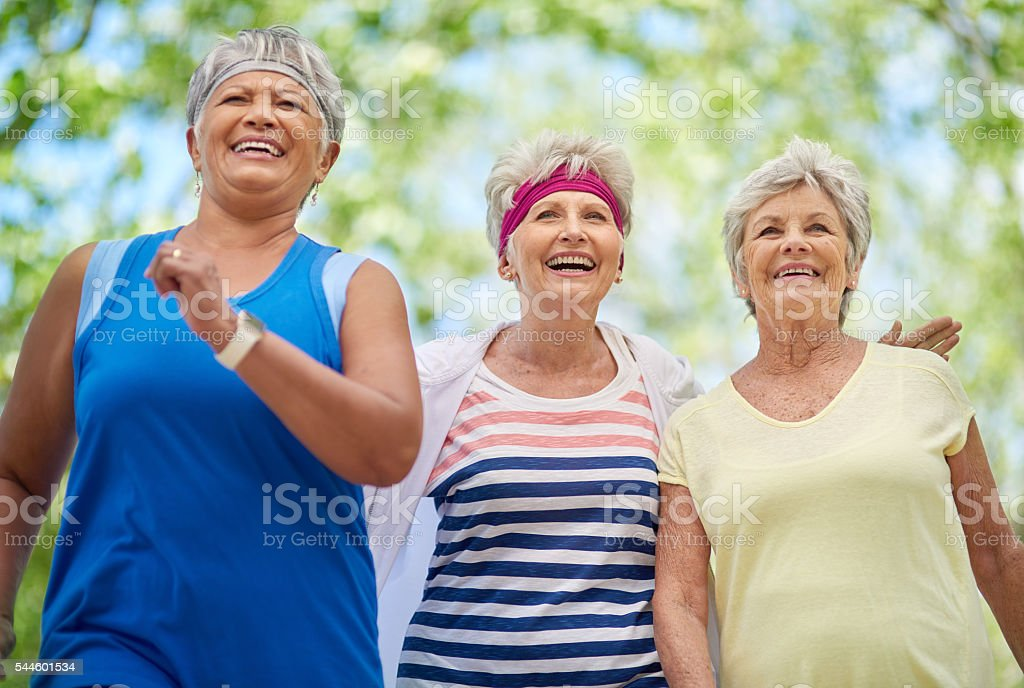 They've made a lifetime commitment to staying fit stock photo