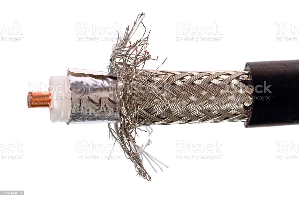 Thick 50 ohm coaxial cable stock photo