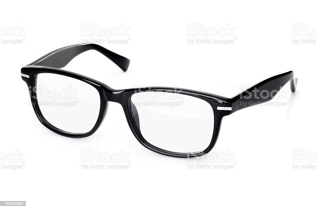 Thick black glasses on white background stock photo