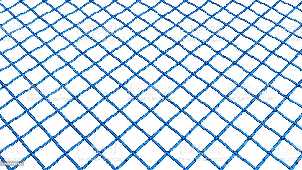 Thick Blue Wire Railing Isolated on White stock photo