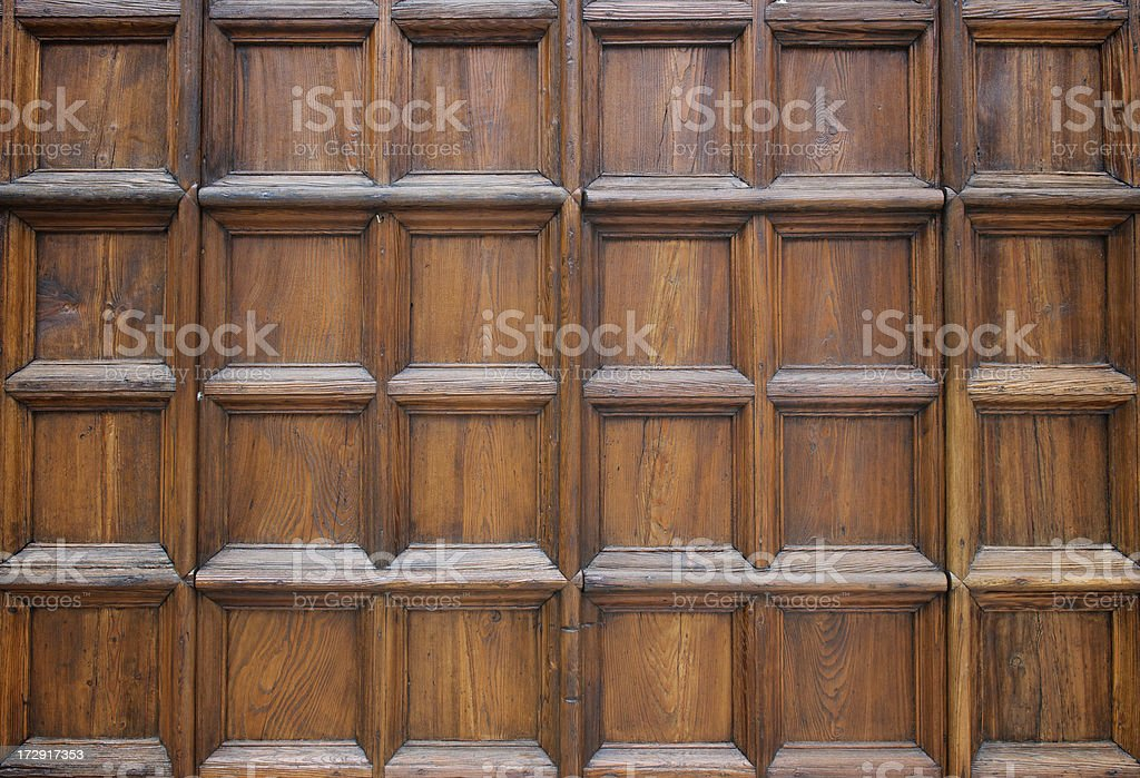 Thick Brown Wood Panel Abstract Full Frame stock photo