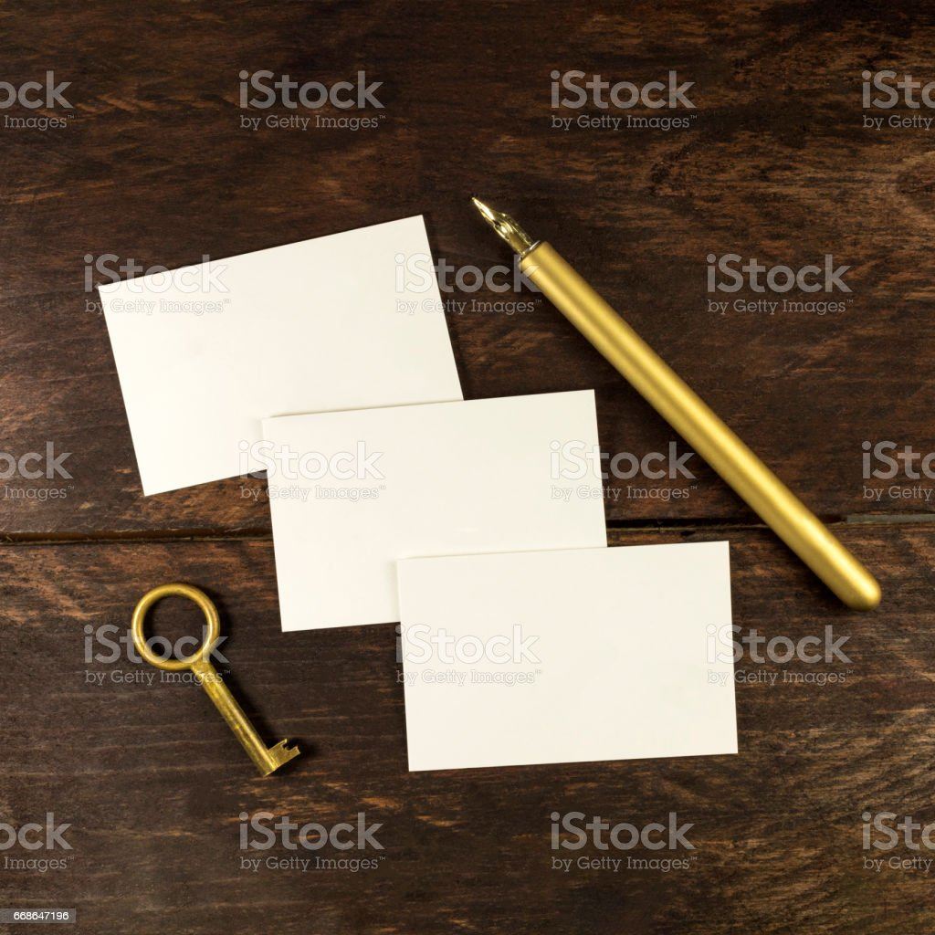 Thick cardboard business cards with ink pen and copyspace stock photo